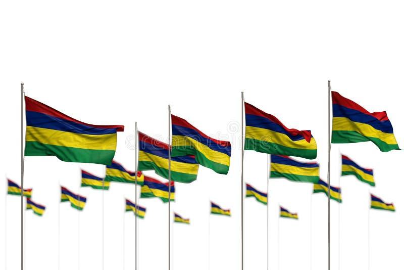Maur?cias bonito isolou as bandeiras colocadas na fileira com foco seletivo e no lugar para o ?ndice - toda a ilustra??o da bande ilustração royalty free