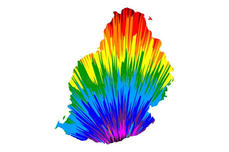 Maur?cias - o mapa ? teste padr?o colorido projetado do sum?rio do arco-?ris, mapa de Republic of Mauritius fez da explos?o da co ilustração do vetor