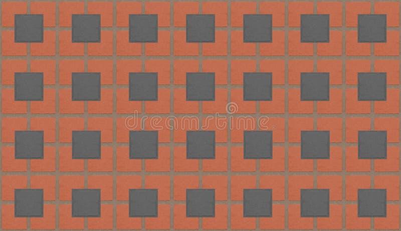 Maurerarbeit deckt graue Fliesen an den Gelenken mit Ziegeln geometrischer abstrakter Hintergrund zeichnet das städtische Quadrat vektor abbildung