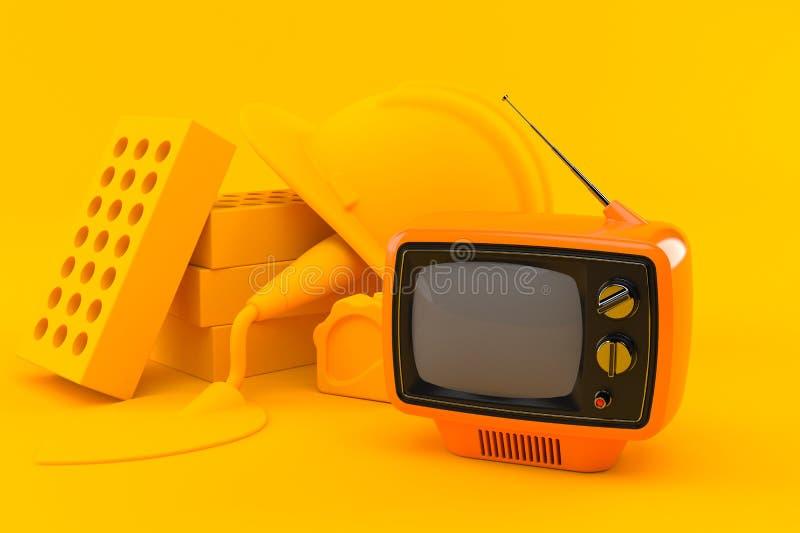 Maurerarbeithintergrund mit Fernsehen vektor abbildung