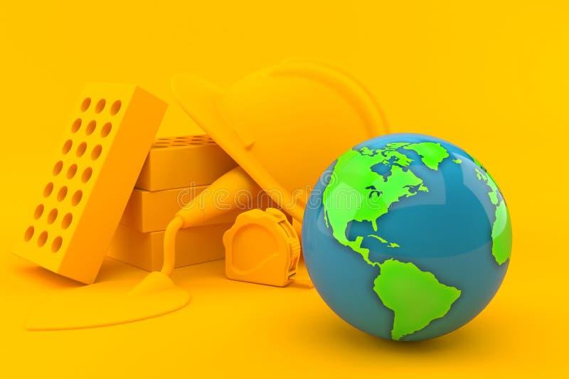 Maurerarbeithintergrund mit Weltkugel lizenzfreie abbildung