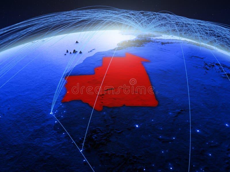 Mauretanië op blauwe digitale aarde met internationaal netwerk die mededeling, reis en verbindingen vertegenwoordigen 3d stock afbeeldingen