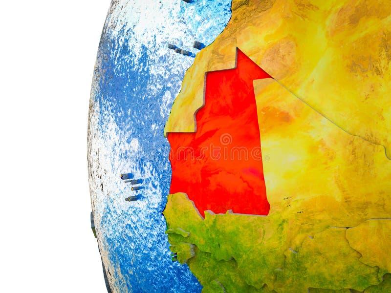 Mauretanië op 3D Aarde vector illustratie