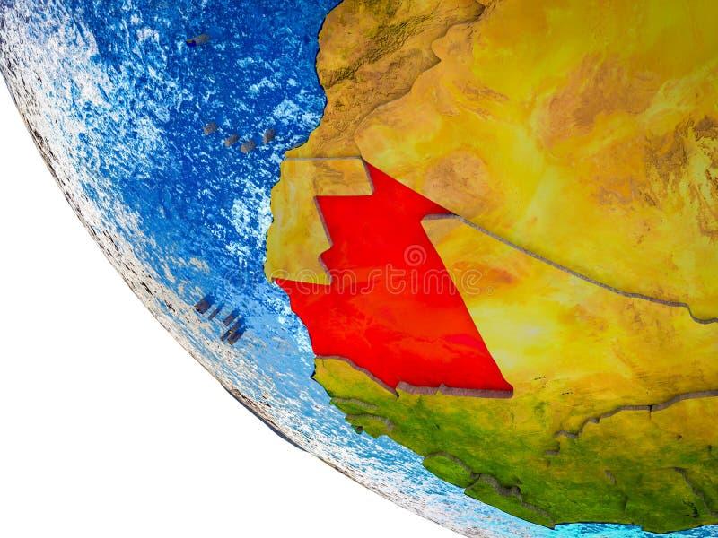 Mauretanië op 3D Aarde stock illustratie