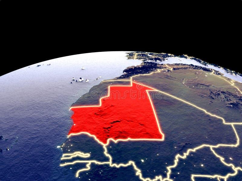 Mauretanië ter wereld van ruimte royalty-vrije illustratie
