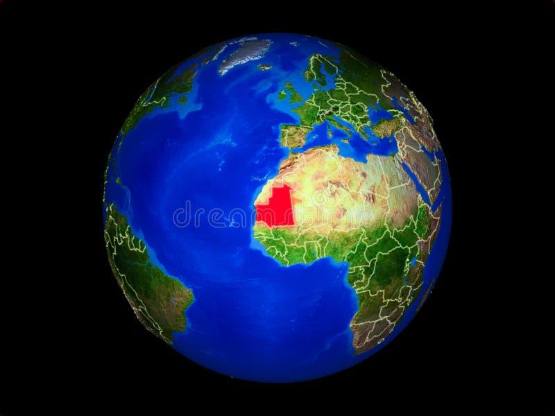 Mauretanië ter wereld van ruimte vector illustratie