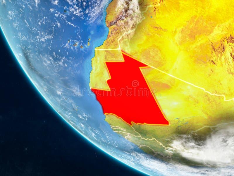 Mauretanië van ruimte ter wereld royalty-vrije illustratie