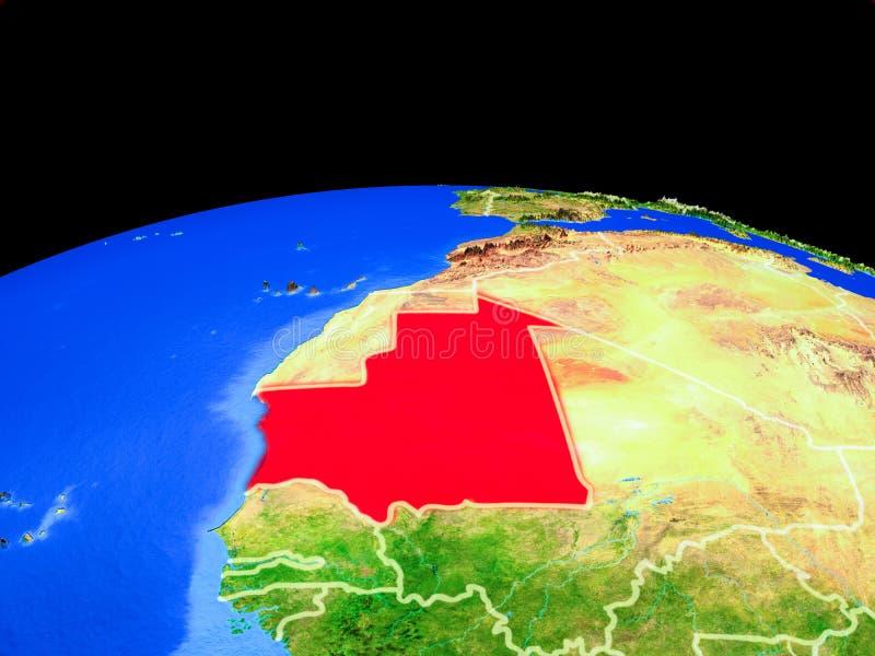 Mauretanië van ruimte ter wereld vector illustratie