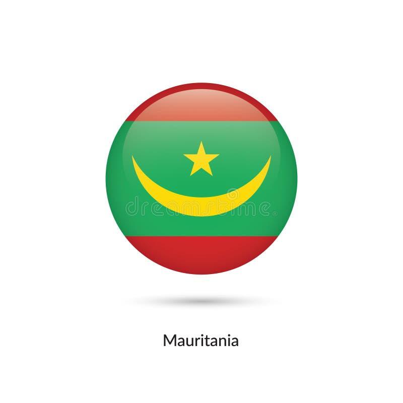Mauretanien flagga - rund glansig knapp royaltyfri illustrationer