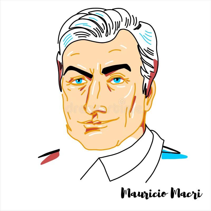Mauricio Macri Portrait vektor illustrationer
