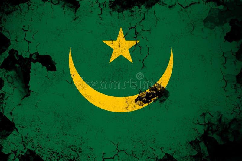 Mauritânia oxidada e ilustração da bandeira do grunge ilustração do vetor
