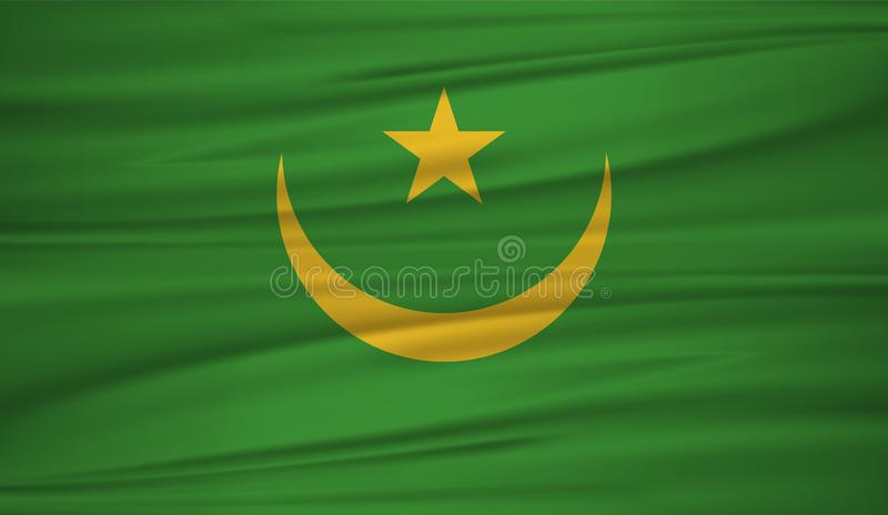 Mauritania flag vector. Vector flag of Mauritania blowig in the wind.The national flag of Mauritania on wavy silk background. vector illustration
