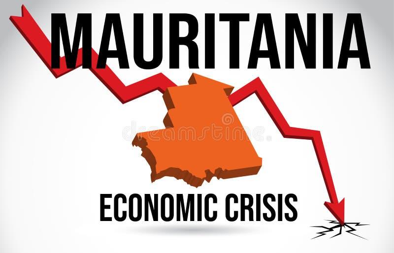 Mauritania Map Financial Crisis Economic Collapse Market Crash Global Meltdown Vector. Illustration vector illustration