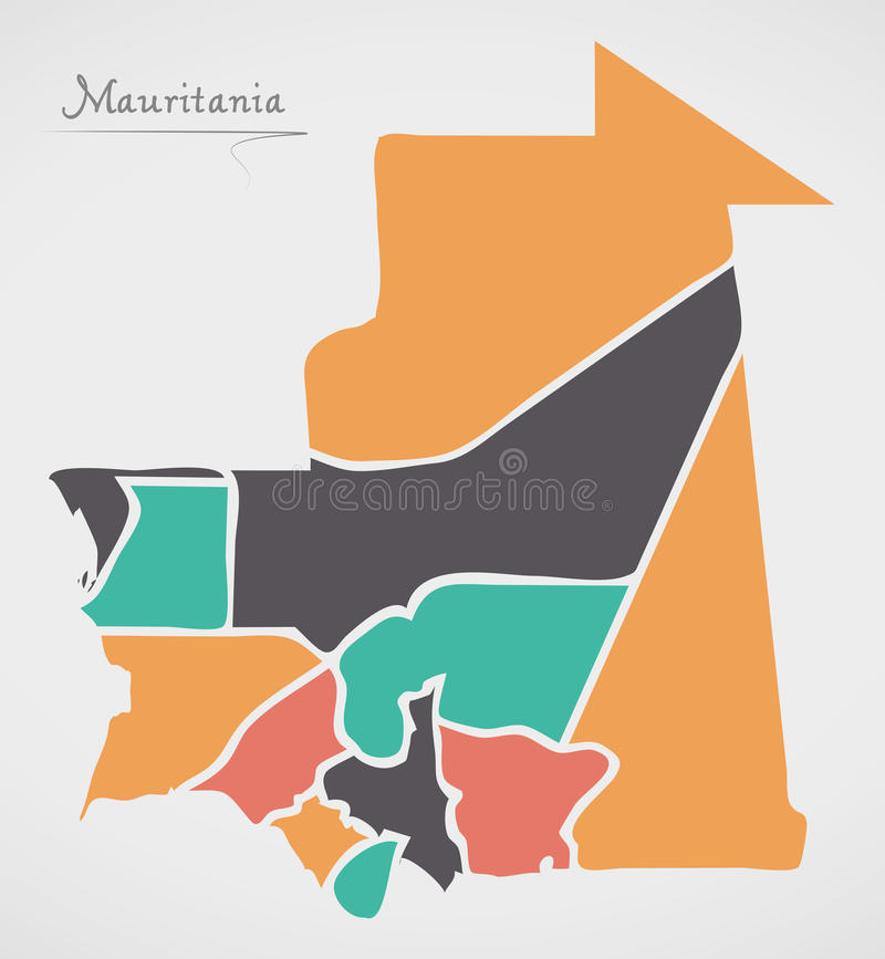 Mauritania Map with states and modern round shapes. Illustration stock illustration