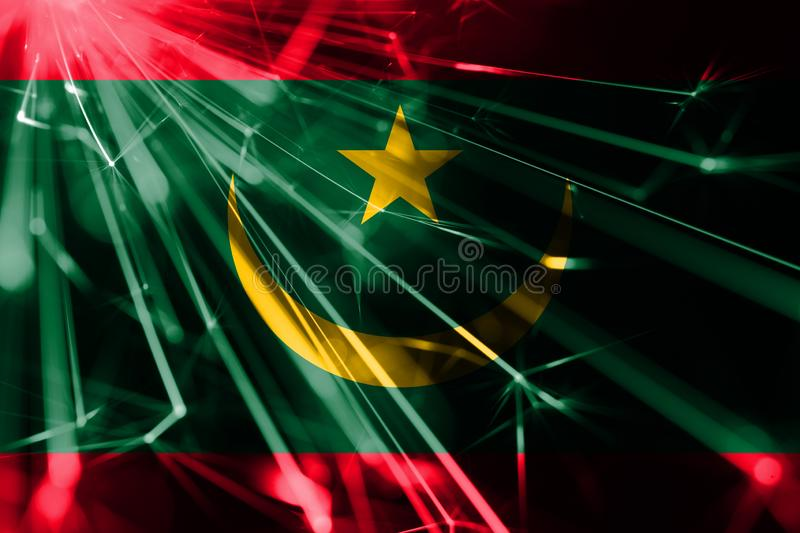 Mauritania shining fireworks sparkling flag. New Year 2019 and Christmas futuristic shiny party concept flag. Mauritania shining fireworks sparkling flag. New vector illustration