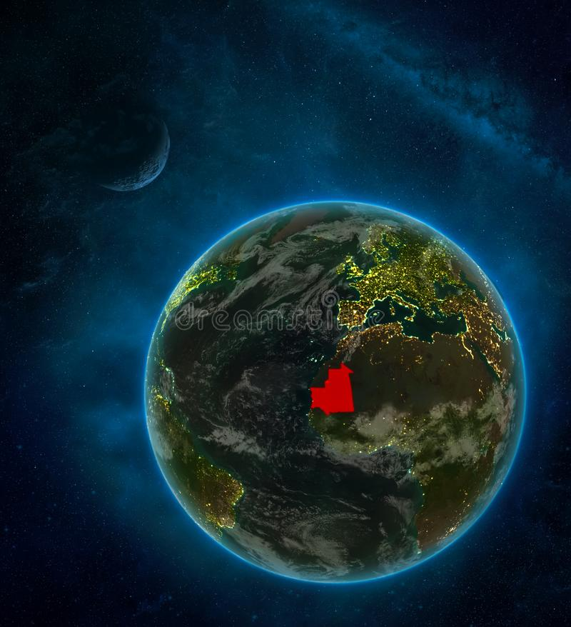 Mauritania from space on Earth at night surrounded by space with Moon and Milky Way. Detailed planet with city lights and clouds. 3D illustration. Elements of stock illustration