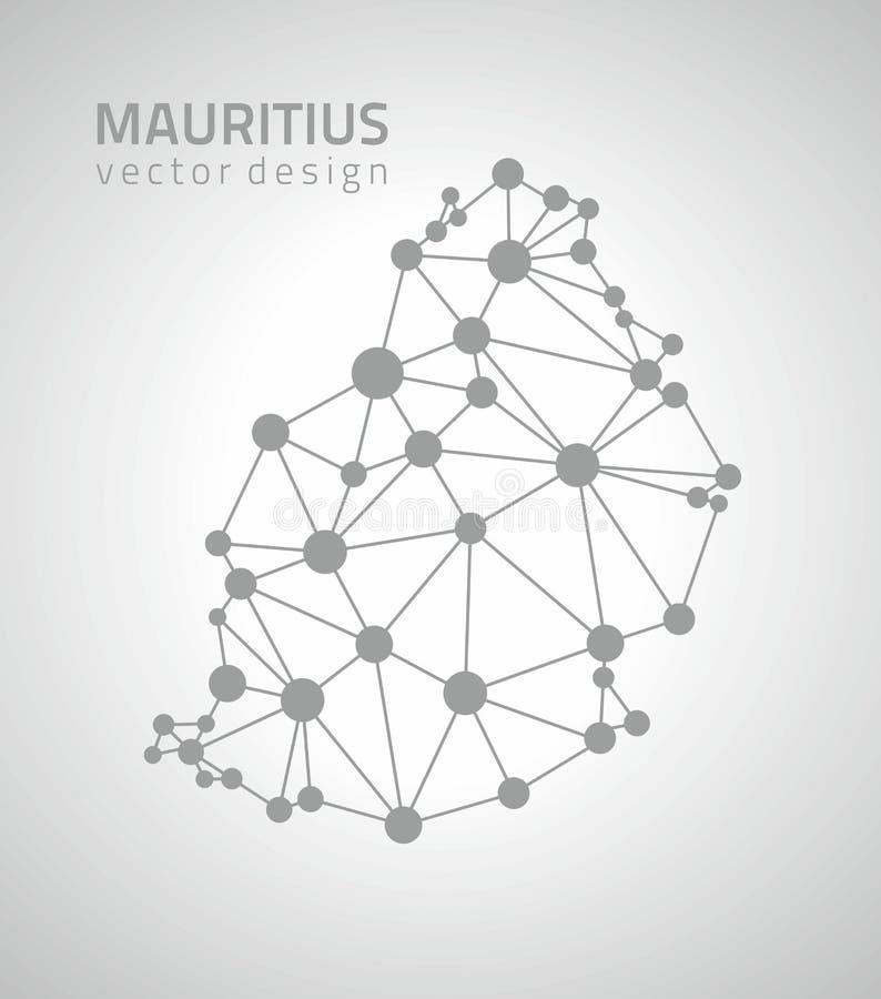 Mauritius czerni wektorowego konturu trójboka poligonalna mapa