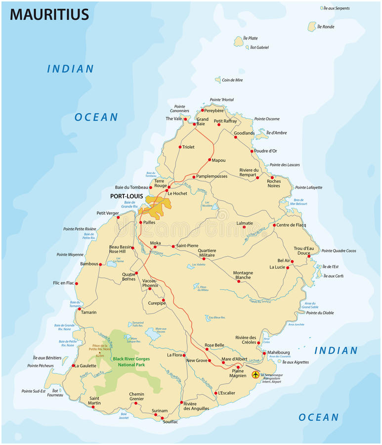 Mauritius drogowa mapa ilustracja wektor