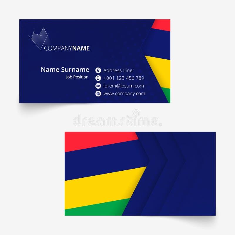 Mauritius Flag Business Card, molde do cartão do tamanho padrão 90x50 milímetro ilustração royalty free