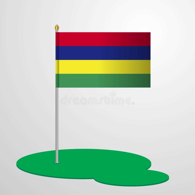 Mauritius Flag Pole ilustração royalty free