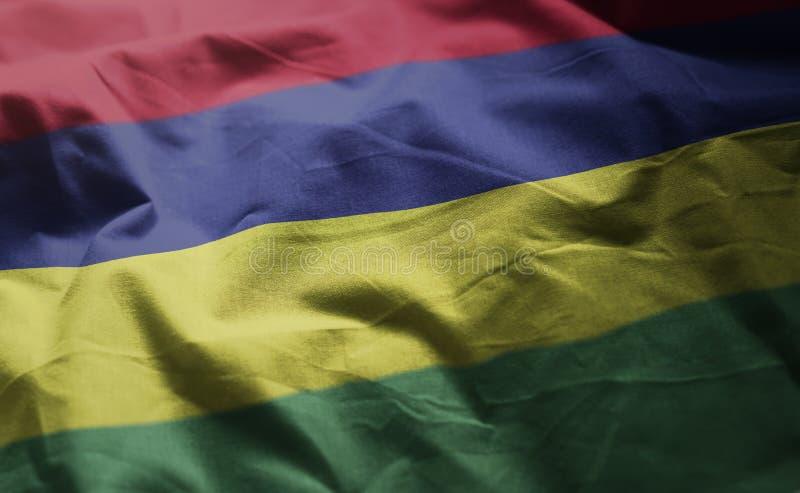 Mauritius Flag Rumpled Close Up imágenes de archivo libres de regalías