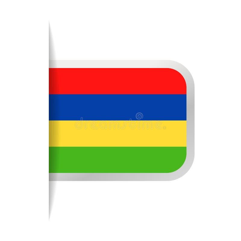 Mauritius Flag Vector Bookmark Icon stock de ilustración
