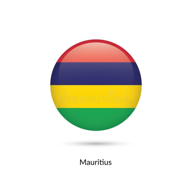 Mauritius flagga - rund glansig knapp royaltyfri illustrationer