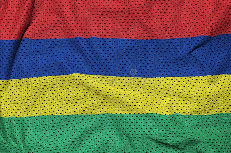 Mauritius flagga som skrivs ut på en fabr för ingrepp för polyesternylonsportswear arkivbild
