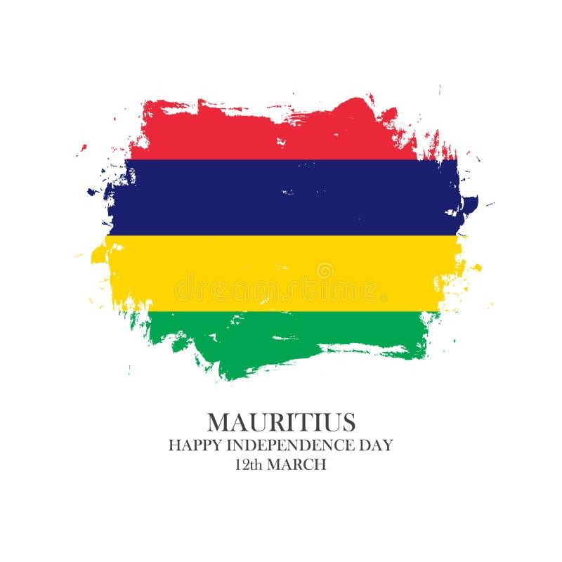 Mauritius Happy Independence Day, o 12 de março cartão com curso da escova em cores nacionais ilustração royalty free