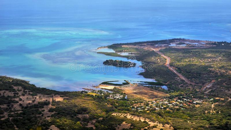Mauritius Island, costa del sudoeste, Ariel View imágenes de archivo libres de regalías