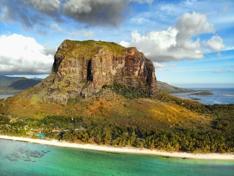 Mauritius Island, Le Morne Brabant Mountain. White sand beach and Le Morne Brabant mountain, aerial view. Mauritius Island stock images