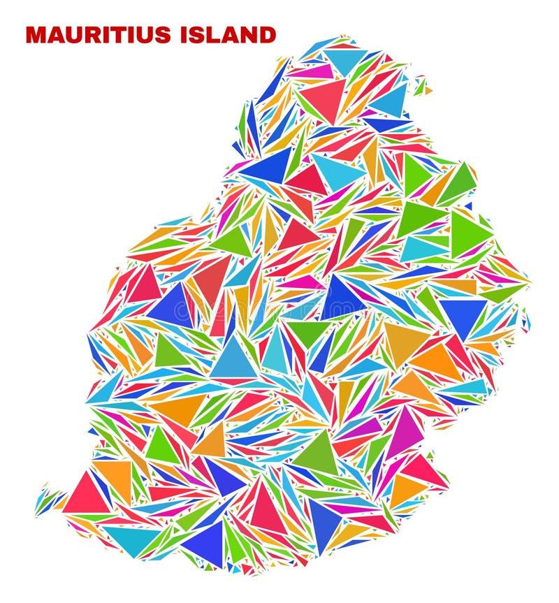 Mauritius Island Map - mosaico de triângulos da cor ilustração do vetor