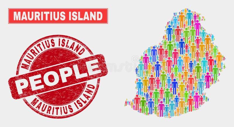 Mauritius Island Map Population People e filigrana riscada ilustração stock