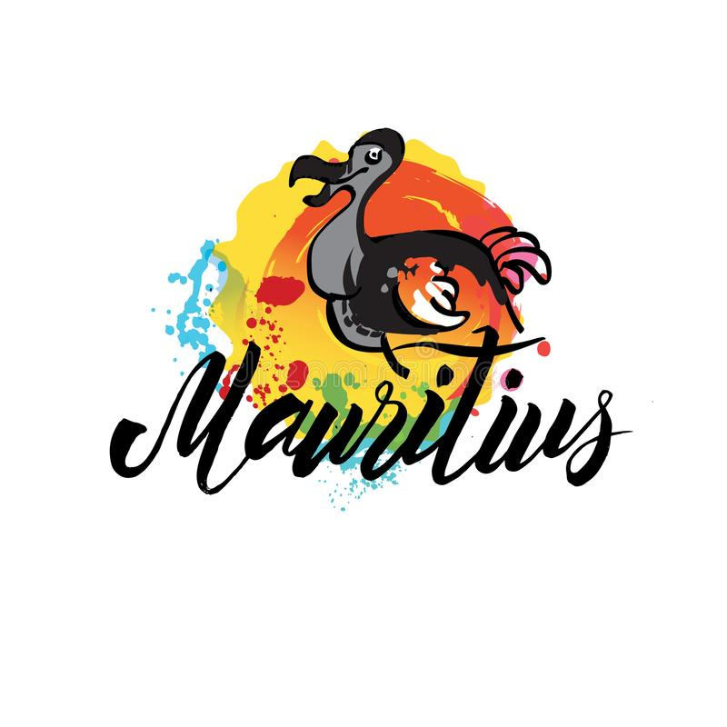 Mauritius kraj z grunge projektem stosownym dla logo ikony projekta Wektorowa ilustracja dodo ptak obraz stock