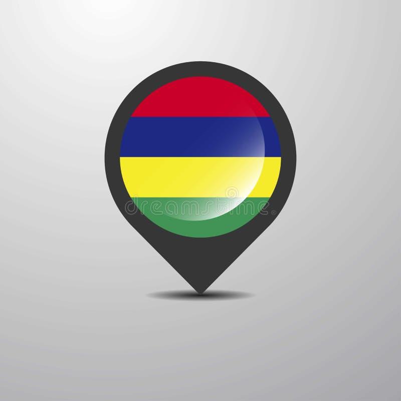 Mauritius Map Pin ilustração do vetor