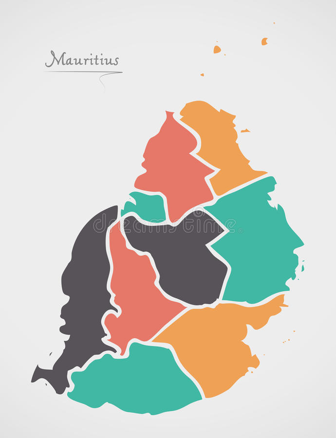 Mauritius Map with states and modern round shapes. Illustration vector illustration