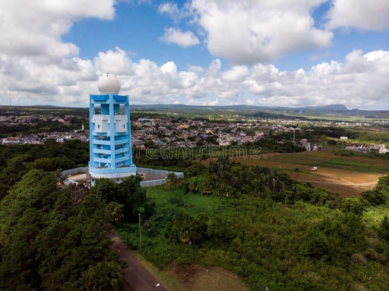 Mauritius Meteorological Services Doppler Weather radarstation royaltyfri fotografi