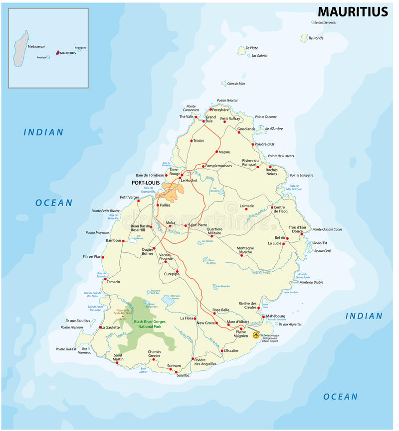 Mauritius road map royalty free illustration
