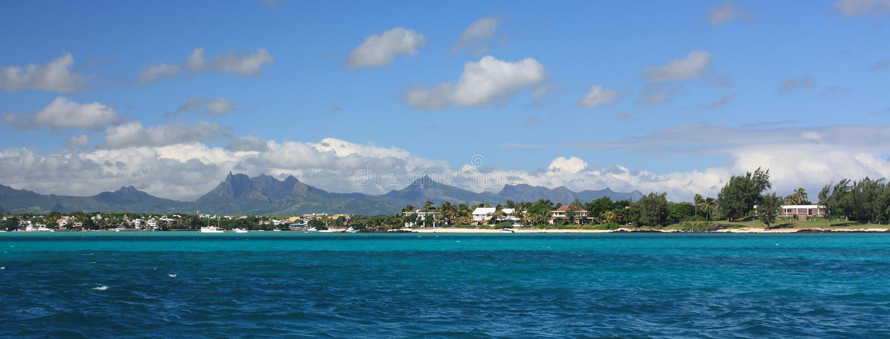 Mauritius shoreline panorama stock photos