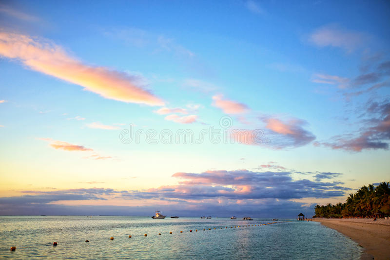 Mauritius sunset stock photo