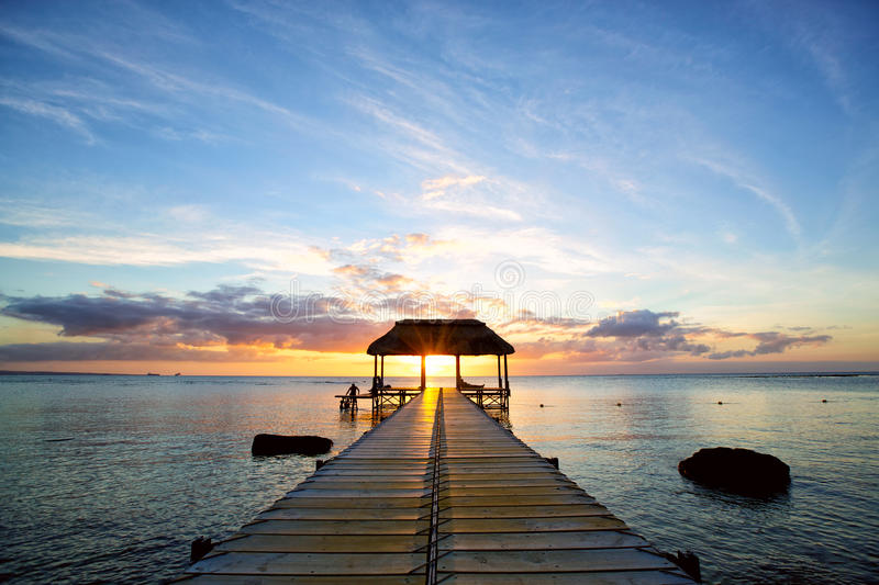 Mauritius sunset royalty free stock image