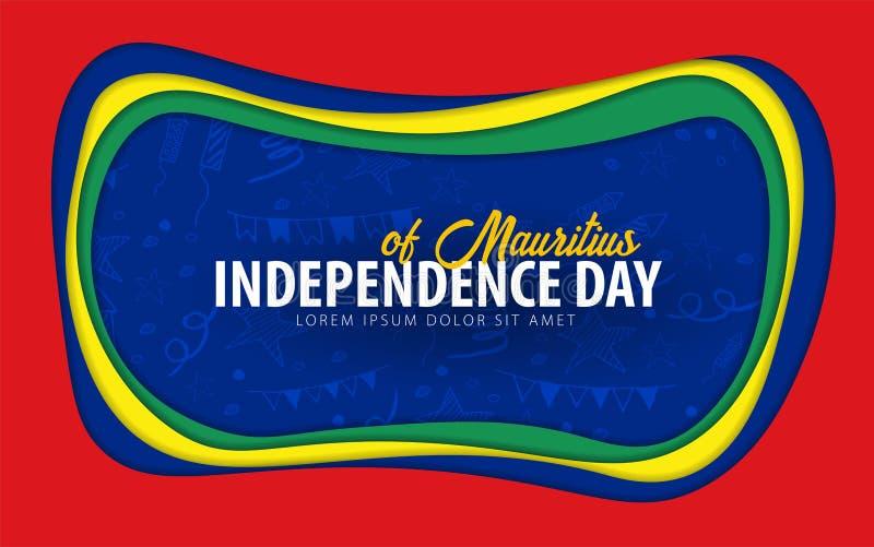 mauritius Tarjeta de felicitación del Día de la Independencia estilo del corte del papel ilustración del vector