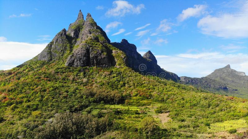 Mauritius Volcanic Landscape Mountains stock foto's