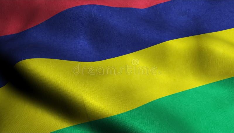 Mauritius Waving Flag en 3D ilustración del vector