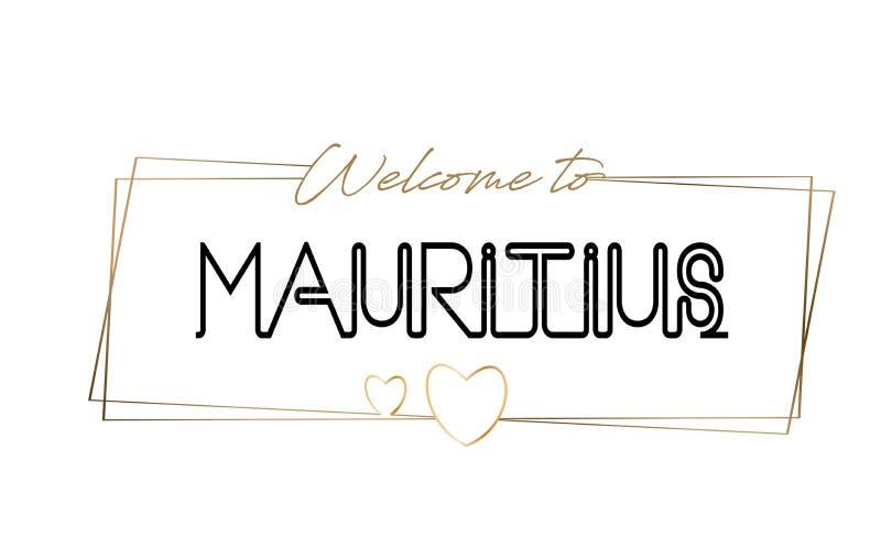 Mauritius Welcome à tipografia de rotulação de néon do texto Palavra para o logotype, crachá, ícone, cartão, logotipo, ilustração ilustração royalty free