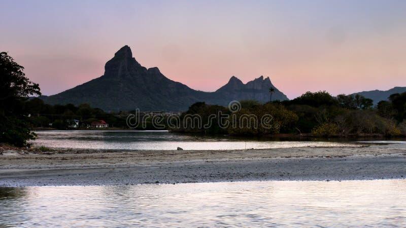 Mauritius wyspy gór wschód słońca zdjęcie royalty free