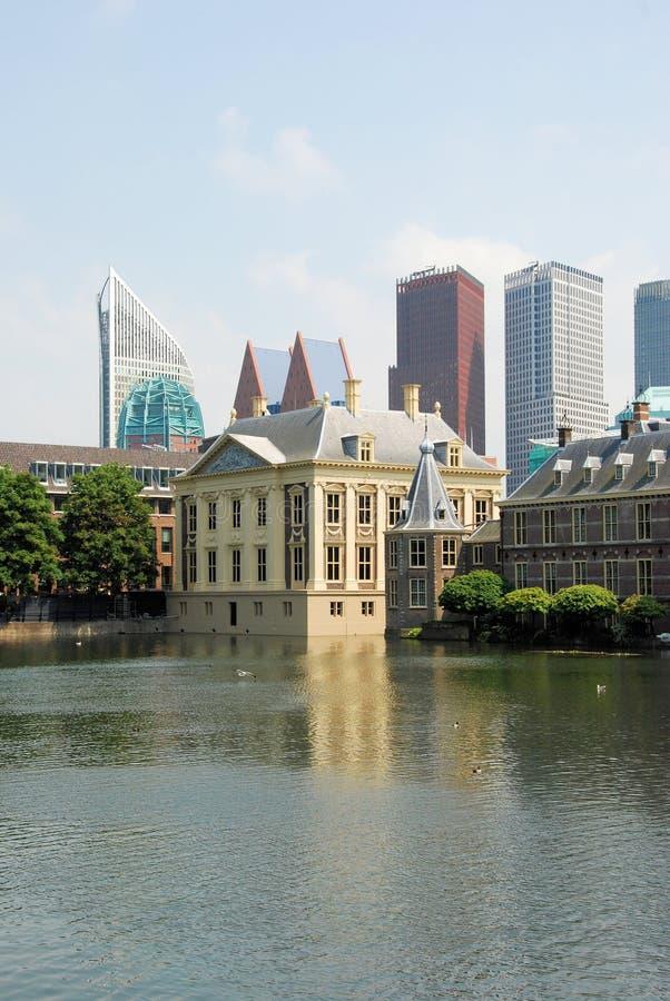 The Haque - Mauritshuis-Binnenhof-De Hofvijver- Netherland. The Hague, Mauritshuis and Binnenhof, complex of buildings for political with Het Torentje, work room royalty free stock image