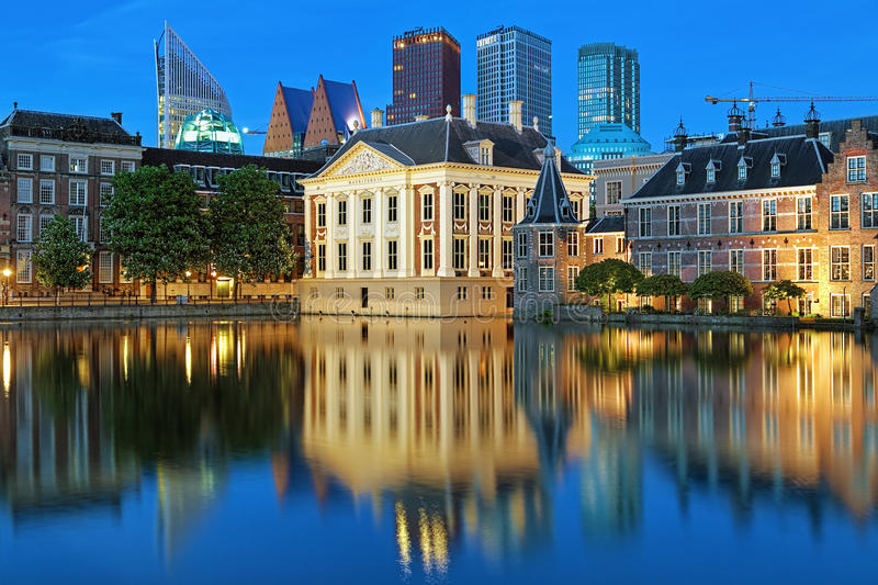 The Mauritshuis in the evening in The Hague, Netherlands royalty free stock images