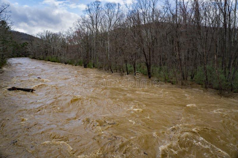 Maury River en la etapa de la inundación que inunda áreas de mentira del punto bajo fotografía de archivo libre de regalías