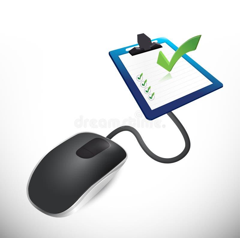 Maus angeschlossen an einen Übersichtsfragebogen. vektor abbildung